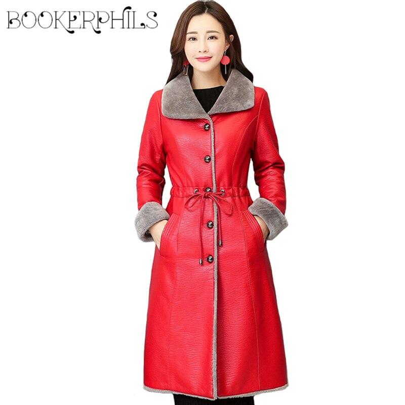 Winter Leather Jacket Women Fur Coat Outerwear Plus Size 4XL Fashion Female Coats 2018 Lamb Wool Leather Jackets Windbreaker