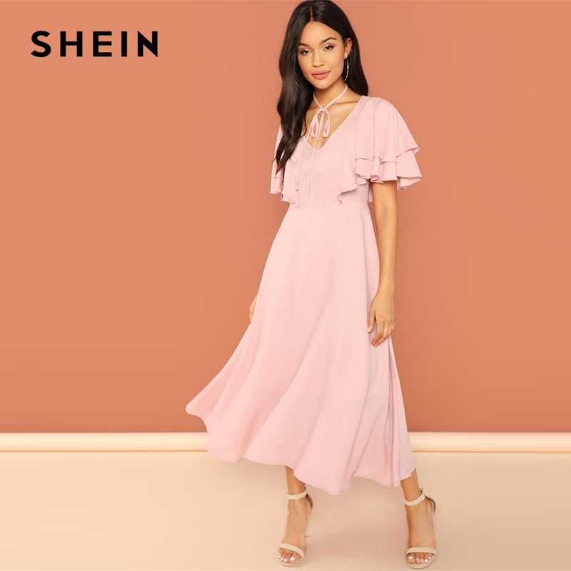 3ad5c26a8e SHEIN Pink Party Tiered Layer Tie Neck Flutter Sleeve Ruffle Zipper Solid  Dress Autumn Weekend Casual