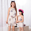 Mother And Daughter Clothes Harness Sleeveless Dress Floral Print Mom And Daughter Dress Casual Family Clothing Chiffon Dress