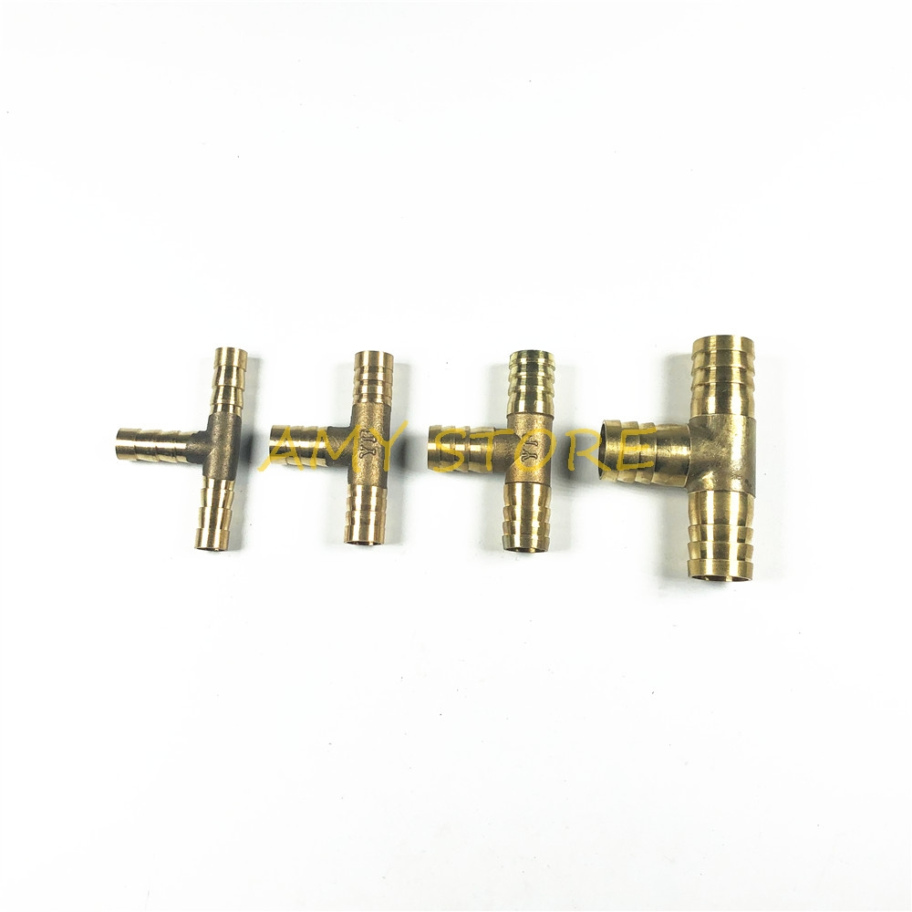 1pcs 6 8 10 12mm BRASS Equal T Hose Joiner Piece 3 WAY For Fuel Water Air Oil Tube TEE Connector Adapter Coupler