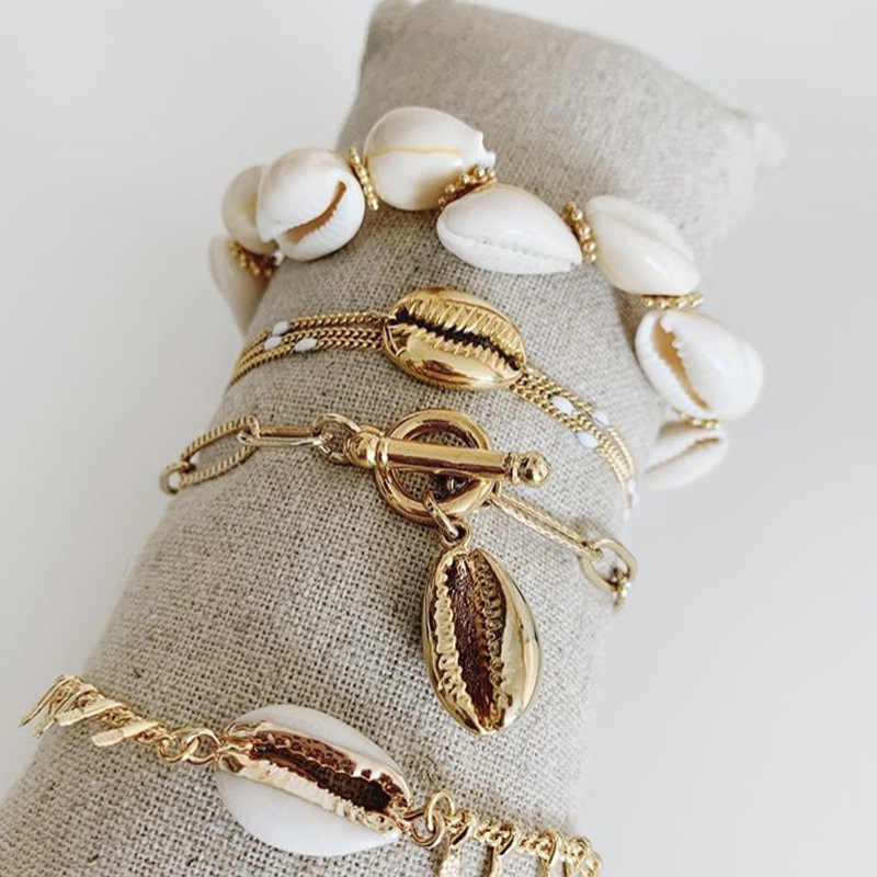 Fashion Gold Color Cowrie Shell Charm Bracelet for Women Chain Bracelet Bohemian Jewelry