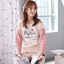 Plus size pajamas sets 100 cotton nightwear big size Sleepwear Pajamas Women Female Pajama Spring Autumn
