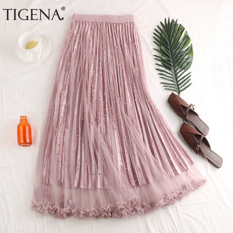 TIGENA Fashion Beading Tulle Velvet Skirt Women 2019 Spring Elegant Long Maxi Skirt Female High Waist Pleated Girls Skirt Pink