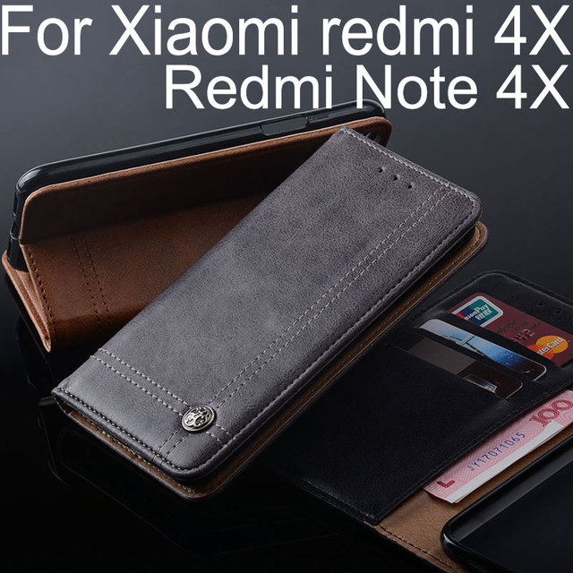 for Xiaomi Redmi 4X case Luxury Leather Flip cover Stand Card Slot Without magnets Business Cases for Xiaomi Redmi note 4X