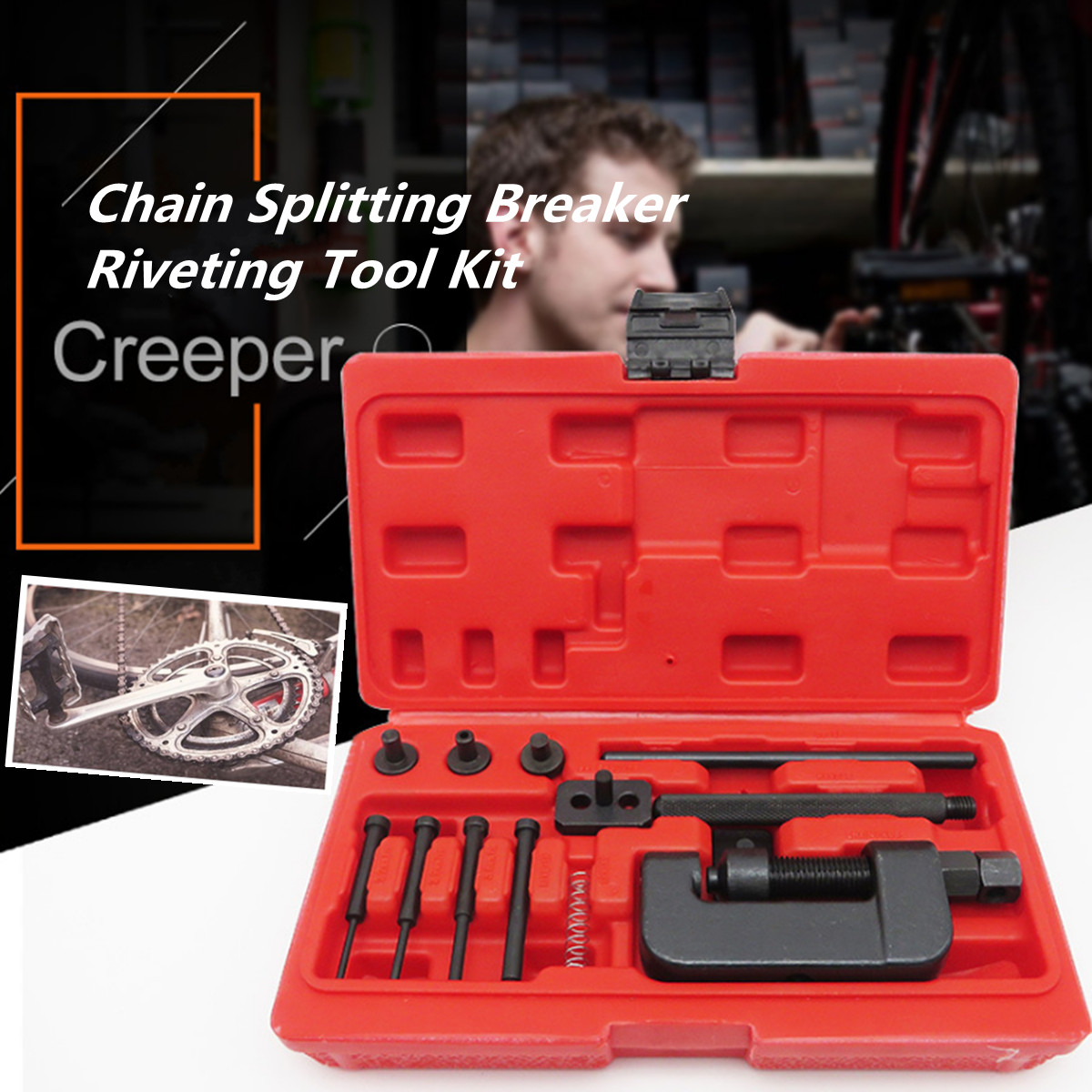 цена на Motorcycle Bike Chain Breaker Link Splitter Riveter Riveting Repair Tool Set REMOVER CHAIN TOOLS CUTTER