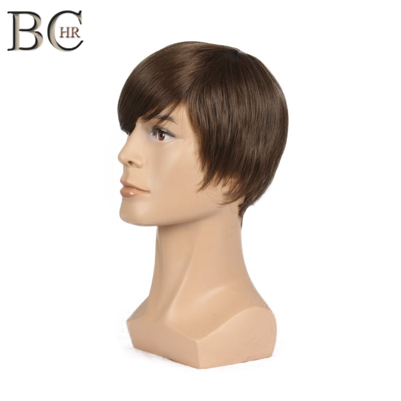 BCHR Short Straight Synthetic Men Wig For Male Natural Wigs Brown Color Free Shipping Toupee WIGS