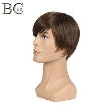 Bchr 짧은 스트레이트 합성 남성 가발 남성 자연 가발 브라운 색상 무료 배송 toupee 가발