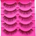 Moda 5 Pares Escassa Cruz Eye Makeup Lashes Natural Longo Falso Pestanas Falsas Grosso Feixe Macio Cílios