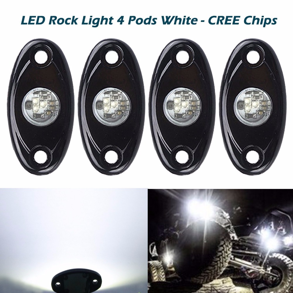 ФОТО  Universal Fit 3 X 9W High Power LED Rock Light Kit For Wrangler Motorcycles Trucks SUV Off-Road Boat, Xenon White
