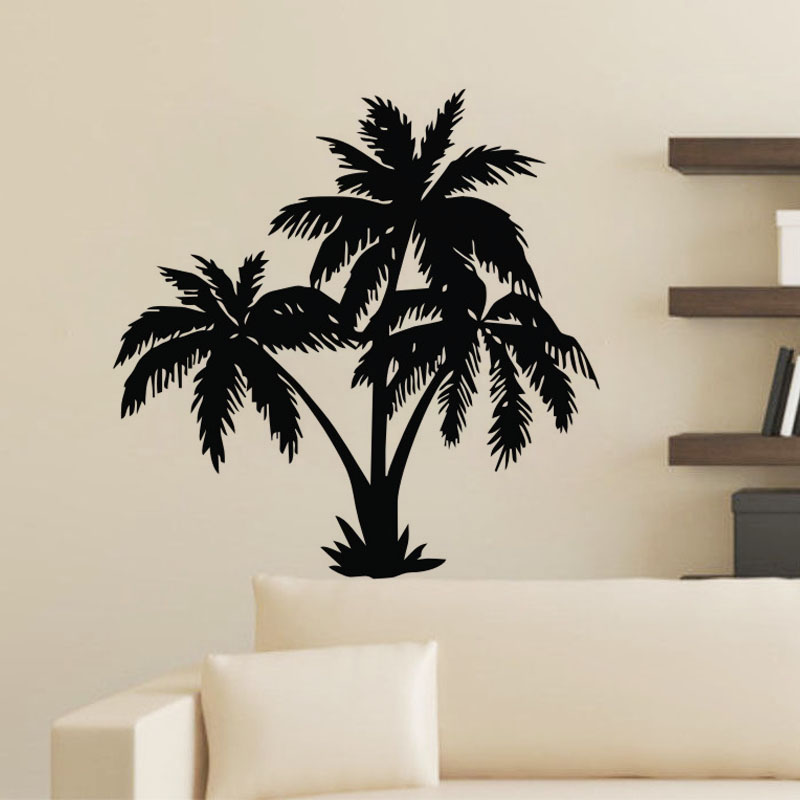 EHOME Palm Tree Wall Stickers Modern Home Decor Removable Vinyl Wall Decals  Plant Self Adhesive Sticker