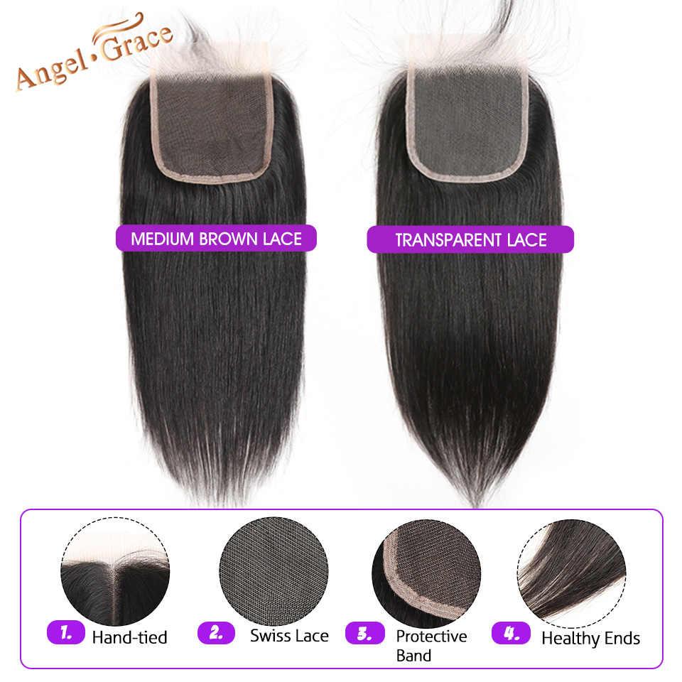 Бразильские прямые пучки волос с закрытием ангела Грейс пучки волос плетение с закрытием Remy человеческие волосы 3 пучка с закрытием