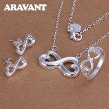 Srebro 925 zestaw biżuterii 8 słowo Bride naszyjnik pierścień kolczyk dla kobiet zestaw biżuterii ślubnej prezenty