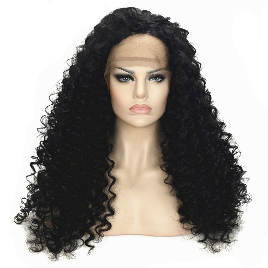 StrongBeauty Synthetic Lace Front Wig Black Long Curly Hair wigs