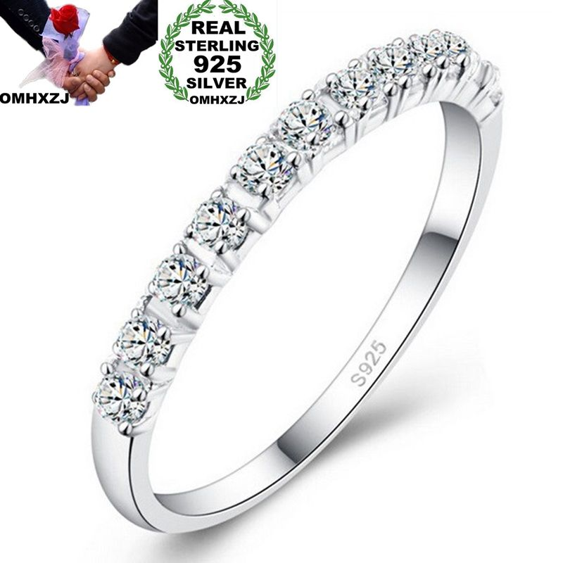 OMHXZJ Wholesale European Fashion Woman Girl Party Wedding Gift 9 Colors Slim AAA Zircon S925 Sterling Silver Ring RR303