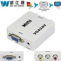 1080P Mini VGA To AV RCA Converter With 3 5mm Audio VGA2AV CVBS Audio Convertor For