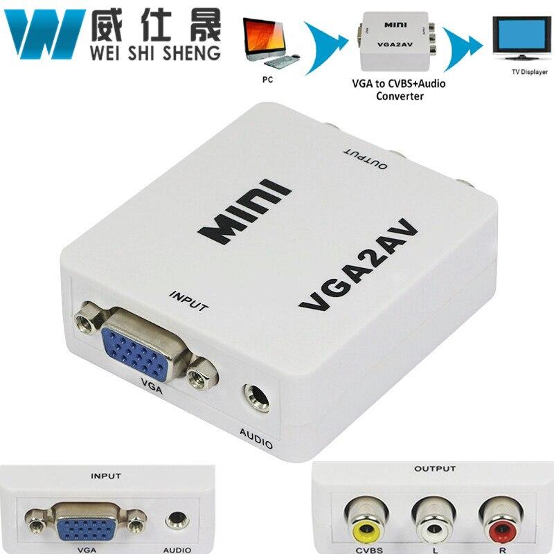 1080P Mini VGA to AV RCA Converter with 3.5mm Audio VGA2AV/CVBS+Audio Convertor for HDTV ...