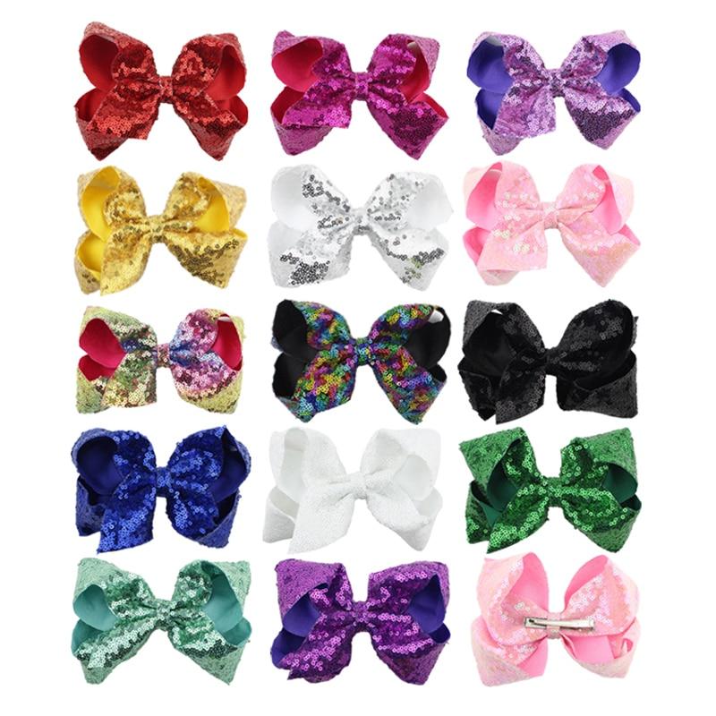 1PC Girls 6 Inch Shinning Sequins Grosgrain Ribbon Bows Hairpins Glitter Hair Bows With Clips Kids   Headwear   Hair Accessories