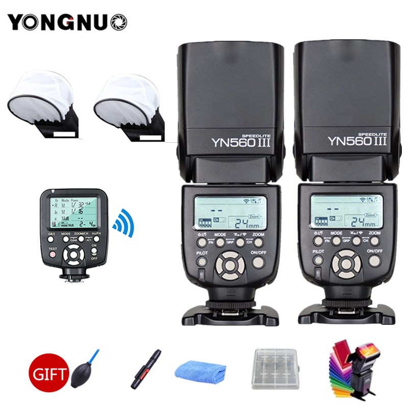 2pcs YONGNUO YN560III YN560 III General Wireless Flash Speedlite + YN560-TX Trigger For Canon Nikon Camera2pcs YONGNUO YN560III YN560 III General Wireless Flash Speedlite + YN560-TX Trigger For Canon Nikon Camera