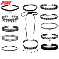 12Pcs/Set Choker Necklace Black Lace Leather Velvet Strip Woman Collar Gothic Tattoo Collier Party Jewelry