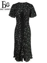купить Baogarret Summer Fashion Designer Dress Women's Sexy V-Neck Bow Tie Ruffles Star Printed  Elegant Vintage Ladies Dresses дешево