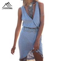 Big Sale Summer Casual Dress Fringe Tassel Dresses Sexy V Neck Front Wrap Tulip Smock Waist
