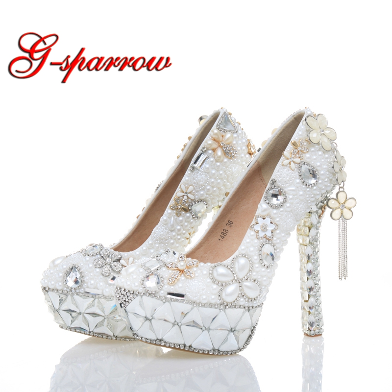 White Pearl Wedding Shoes High Heel Women Real Leather Shoes Plus Size 43 Birthday Party Prom Heels Cinderella Event Pumps white pearl mother of the bride shoes with red bowtie wedding party prom high heels cinderella event shoes bridal pumps