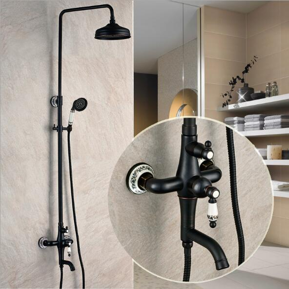 Free Shipping Luxury Antique Brass  Rainfall Shower Set Faucet Tub Mixer Tap Hand held Shower Black Bath and shower faucet sognare new wall mounted bathroom bath shower faucet with handheld shower head chrome finish shower faucet set mixer tap d5205