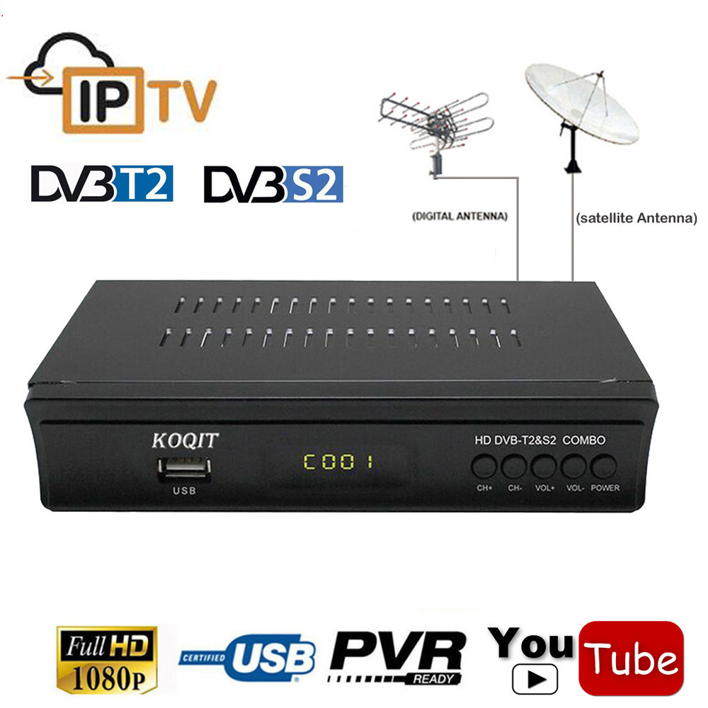 2018 FTA Digital Terrestrial Satellite DVB-T2 DVB-S2 Combo Receiver TV Tuner 1080P IPTV m3u Player iks CS Key Cccam Youtube Wifi