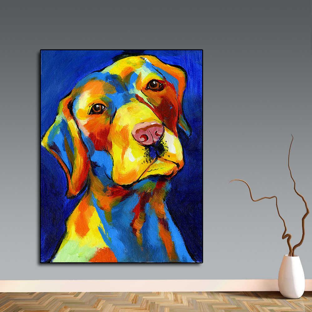 QKART ポスターやプリントキャンバスアートかわいい犬耳のキャンバス絵画ポスターリビングルームの家装飾なしフレーム