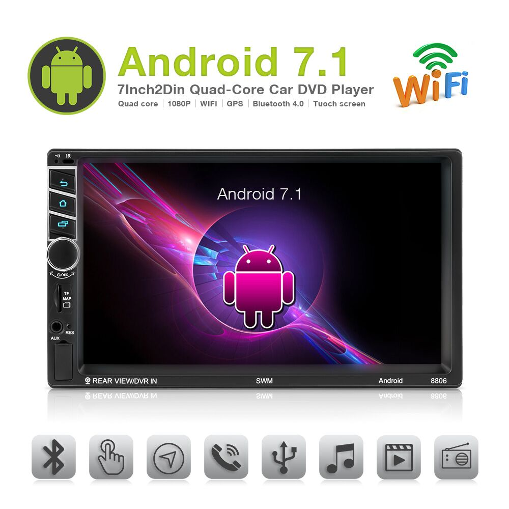 2Din Rádio Do Carro de Navegação GPS Android 7.1 de polegada Quad Core Tela de Toque de Rádio Multimídia WiFi 1080 p Bluetooth MP5 Jogador autoradio