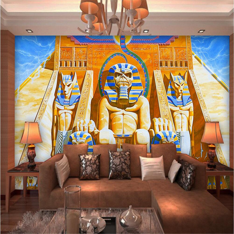 Custom photo wall paper 3d ancient egyptian pharaoh mural for Egyptian mural wallpaper