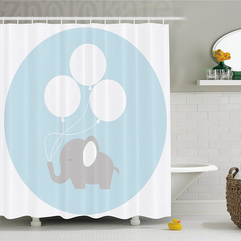 Us 11 65 37 Off Elephant Nursery Decor Shower Curtain Little Baby With Balloons Hy Funny Icon Fabric Bathroom Set H In
