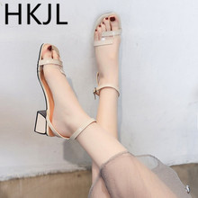 HKJL Fashion The 2019 womens simple strappy gladiator sandals go with the trend a chunky mid-heel A168