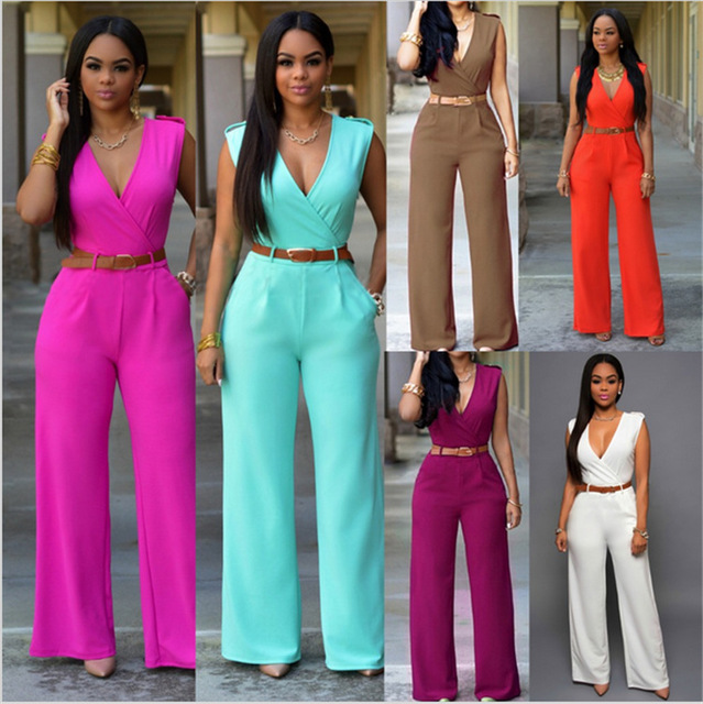Fashion Big Women Sleeveless Sexy V-neck Belted Backless Wide Leg Jumpsuit Straight long pant Elegant Young Jumpsuits