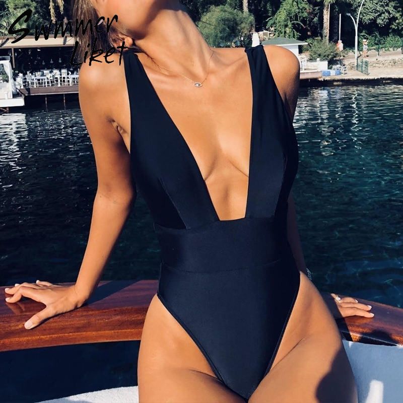 Deep v-neck bikinis <font><b>2018</b></font> mujer <font><b>Black</b></font> <font><b>swimsuit</b></font> <font><b>one</b></font>-<font><b>piece</b></font> sets <font><b>Sexy</b></font> high cut <font><b>swimwear</b></font> Retro bathing suit <font><b>women</b></font> Brazil monokini image