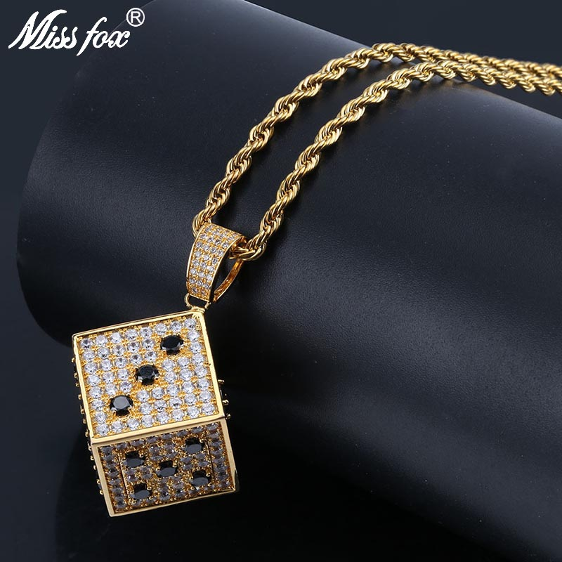 MISSFOX Hip Hop Dice Cube Necklaces Pendants 24K Gold Plated White And Black Cubic Zirconia Long