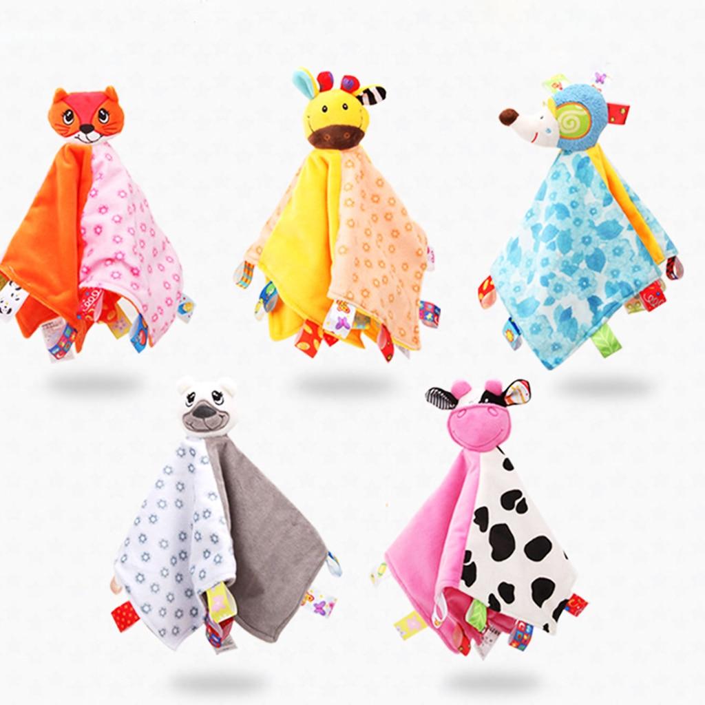 1PC Baby Blanket Bundle Fleece Plush Teething Security Tag Blanket Swaddle DS
