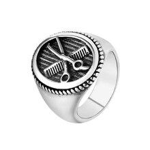 Прямая поставка размер 7~ 12 серебряный цвет крутое парикмахерское кольцо-ножницы 316L нержавеющая сталь ювелирные изделия парикмахерские инструменты стильное кольцо