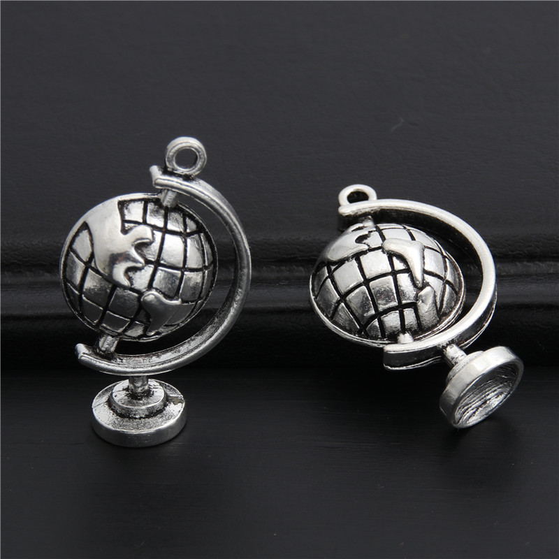 10pcs Antique silver cute globe Travel earth charms Pendant For Jewelry Accessories DIY Making Wholesale 17x29mm A2969