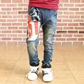 Fashion boys autumn winter jeans trousers Geometric Flag boys jeans denim pants flag trousers for girls kids jeans boys winter