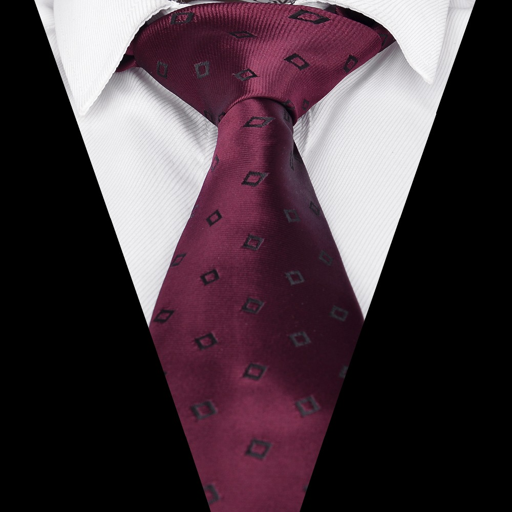 Ikepeibao Hot Men`s Tie Wine Checked Jacquard Woven Polyester Necktie Sets Gravatas For Formal Wedding Party