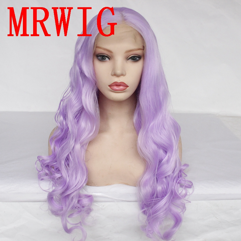 MRWIG  Light Purple Mid Part Long Curly Synthetic Glueless Cosplay Lace Front Wig Heat Resistant Fiber