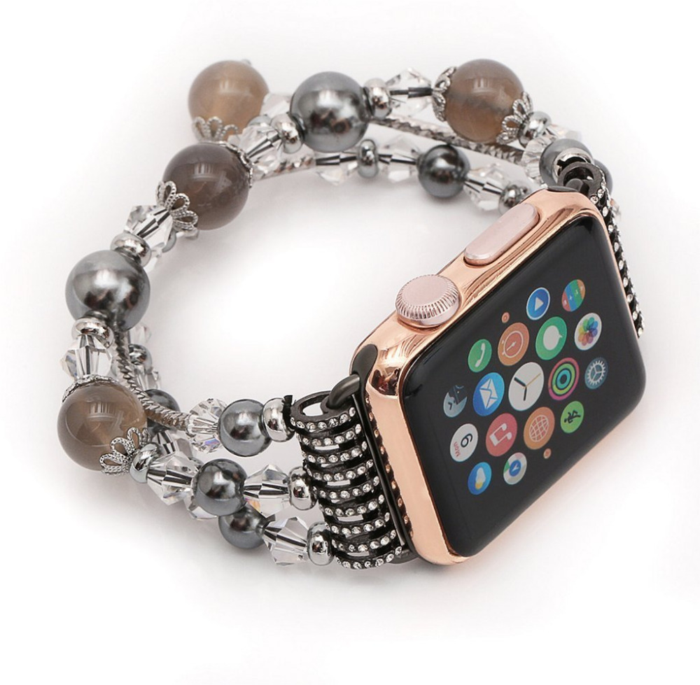 CRESTED Luxury Agate Women watch band strap for apple watch 38mm for iwatch 3 2 1  Ladies wrist bracelet watchband With Adapter