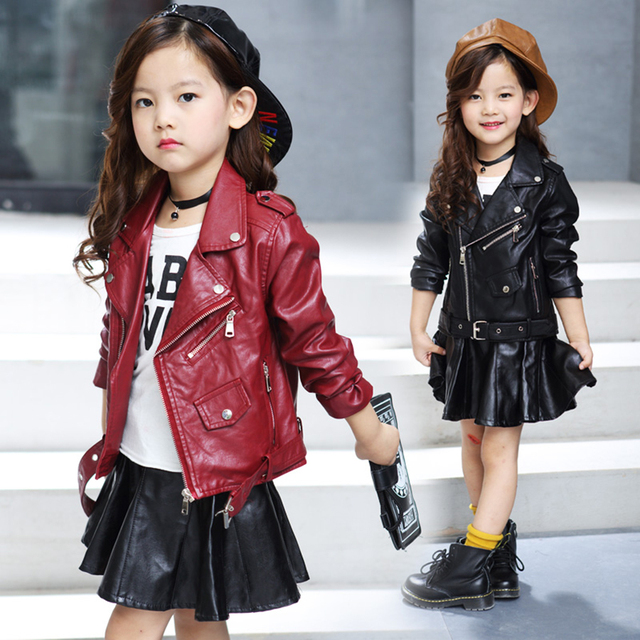e7f050f6baf6 Girls clothes Kids PU Leather jacket girls spring autumn short coat ...