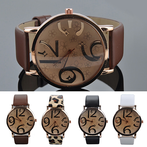 <font><b>Unisex</b></font> Fashion <font><b>Big</b></font> Arabic Numerals Analog Faux Leather Band Quartz Wrist <font><b>Watch</b></font> image