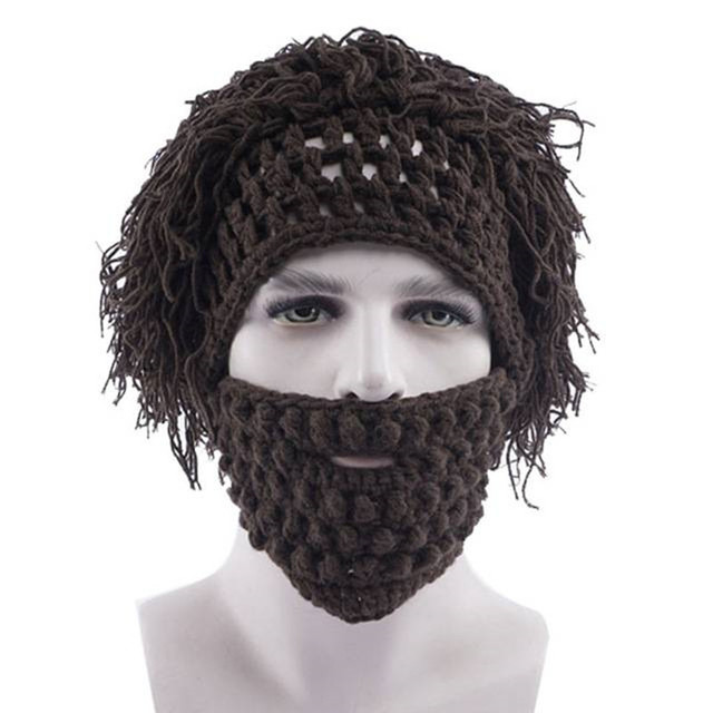 ec38e2bbe51 2018 Winter Warm Beard Cosplay Barbarian Hat Mustache Hats Looter Knit  Crochet Beanie Cap Mad Scientist Caveman Tassel Skullies