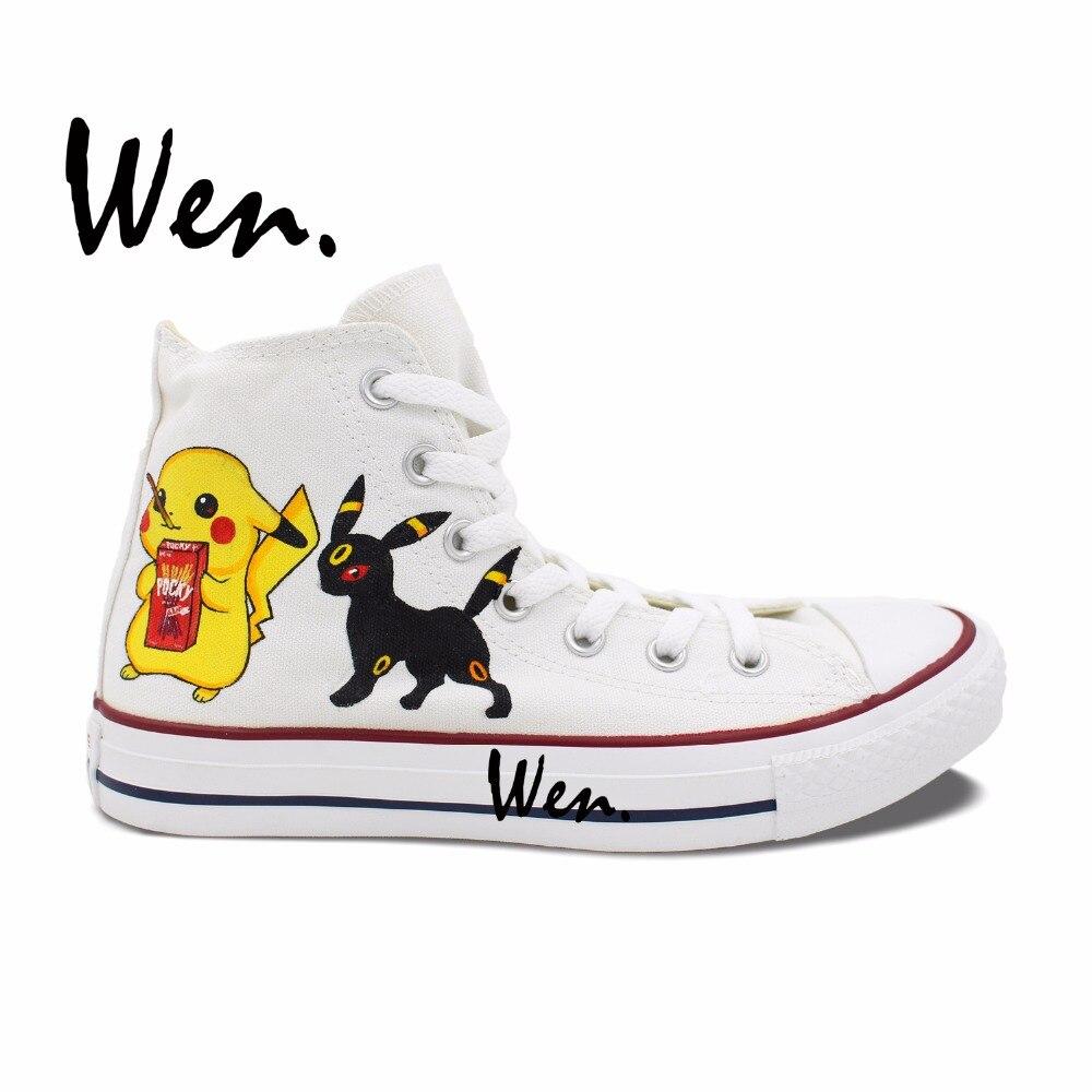 ᐂWen Branco Pintados À Mão Sapatos de Design Personalizado Pokemon ...