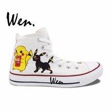 Wen White Hand Painted Shoes Design Custom Pokemon Pikachu Umbreon Eevee High Top Men Women's Anime Canvas Sneakers