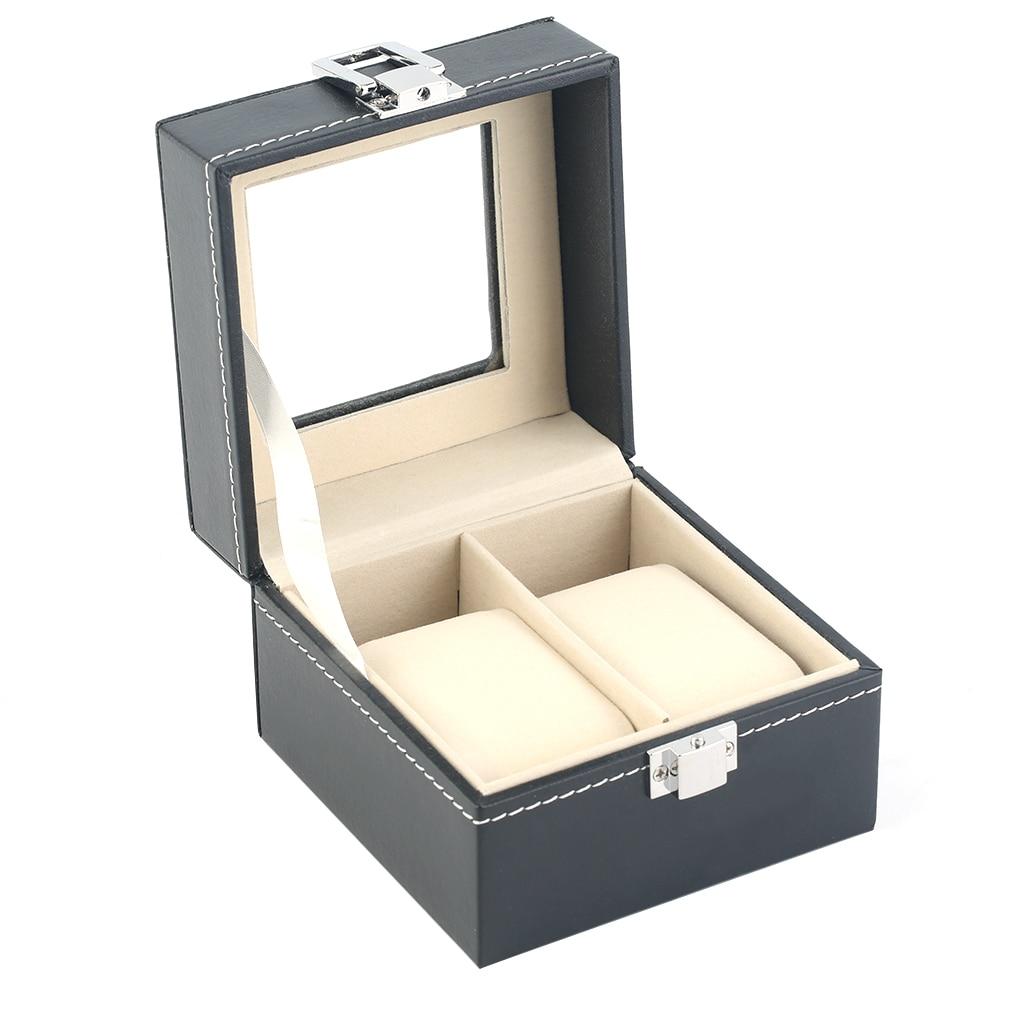 2 Grids Schwarz Plain Muster Pu Leder Uhren Schmuck Vitrine Boxen Lagerung Für Hause Schmuck Dekoration Neue