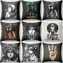 Hot sale many styles vintage white black  funny pattern square Pillow case boys girls weeping willow size 45*45cm